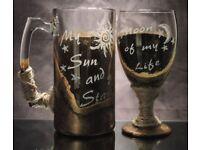 Game of Thrones, Drogo Daenarys couple mug and goblet set. GoT glass cup set