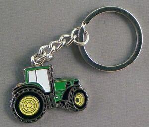 Solid Metal & Enamel Green Tractor Keyring (35mm x 25mm) (Farm yard Digger)