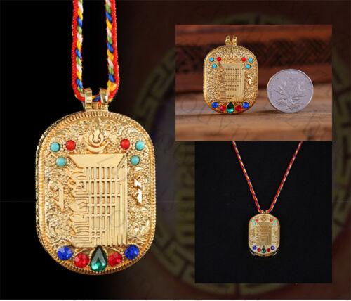 TIBETAN BLESSED GOLD GILT 10 POWERFUL ELEMENTS LOCKET PENDANT GAU PRAYER BOX