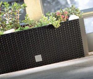 HIGH QUALITY CASE LOW RATTAN POT FLOWER PLANTER + LINER 50cm WINDOW BOX 17 LTR