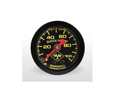 """Marshall Gauge 0-100 Psi Fuel / Oil Pressure Midnight Black 1.5"""" (Liquid Filled)"""