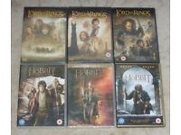 The Lord Of The Rings Trilogy & Hobbit Trilogy DVD Bundle (3 are still sealed)