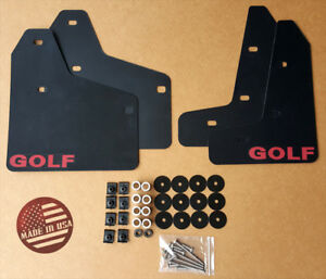 [SR] Mud Flaps Set BLACK w/ Hardware Kit & Logo for 10-14 VW MKVI MK6 Golf GTI