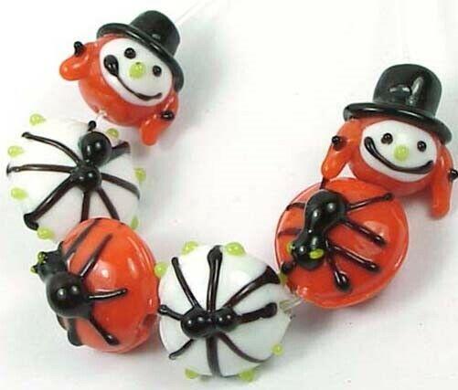 6 Lampwork Handmade Halloween Pumpkin Spider Beads