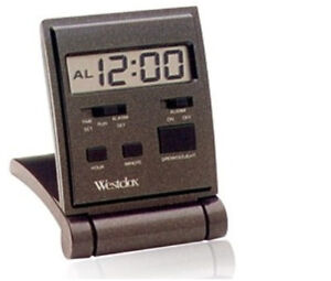 Westclox 47508 LCD Display Compact Folding Travel Alarm Clock