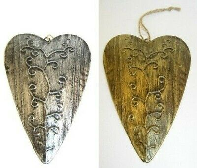 2 x Hanging Decoration Middle Ages Heart Gold Silver Select 16 x 10,5 CM