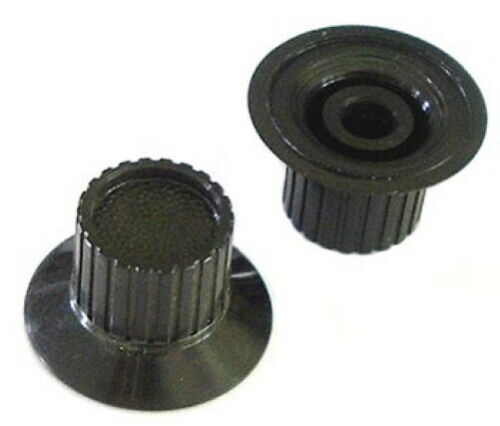 Skirted Ribbed Panel Control Equipment Knobs Black Plastic (10 pieces)