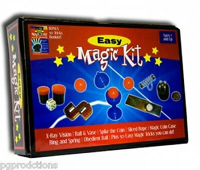 EASY MAGIC KIT Set 50 Tricks Book Kids Beginner Magician Gift Toy Ball Starter  - Magic Kit