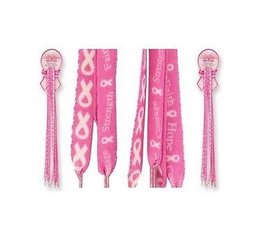 Pink Ribbon Walk Of Hope Shoe Laces Breast Cancer Awareness 2 Pair 5pk 10pk Lot - Pink Ribbon Walk