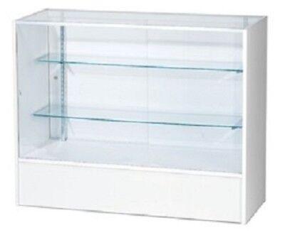 Retail Glass Display Case Full Vision White 4 Showcase