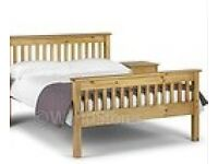 Double pine bed and memory foam mattress 6 months old