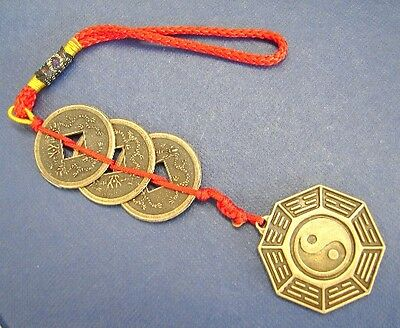 Feng Shui 3-Coin Chinese Money Lucky Charm with Yin Yang