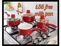 Ceramic pan set. Free milk pan. Available in red or cream