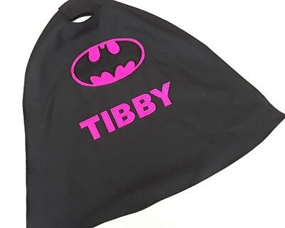 Batgirl cape for children. Costume, fancy dress, birthday present/gift with name - Batgirl Costume For Child