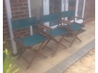 3x folding directors chairs with washable covers