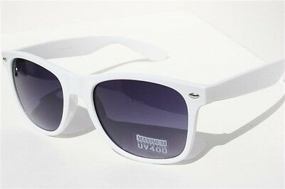 White Retro Sunglasses Vintage 80's Black Gradient Lens