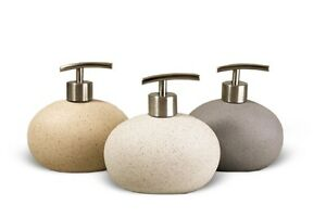 Stone Effect Ceramic Round Soap Dispenser (Sand, White or Grey)