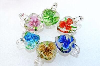 Wholesale Lots 12ps Heart Fluorescence Lampwork Glass Small Pendant Fit (Glass Small Pendant Jewelry)