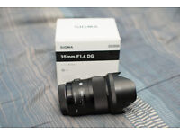 Canon Sigma 35mm f/1.4 Art prime lens Like New In Box - lenses 1.4 35