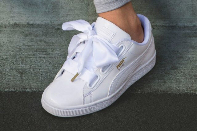 PUMA BASKET HEART WHITE PATENT BRAND NEW IN BOX UK SIZES  4 & 5.5