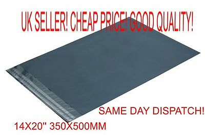 100 x Grey Plastic poly Mailing Bags 350 x 500 mm 14 x 20  large clothes shoes