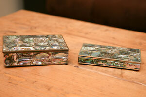 Mexican Silver Mother of Pearl boxes Peterborough Peterborough Area image 1