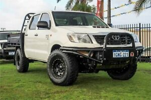 2012 Toyota Hilux KUN26R MY12 SR Double Cab White 5 Speed Manual Cab Chassis Wangara Wanneroo Area Preview