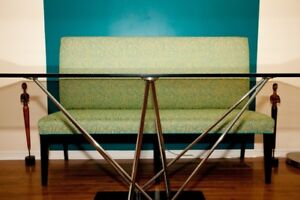Custom upholstered bench with back