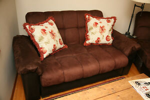 Couch/Loveseat, Sectional, Chaise lounge, brown, with storage