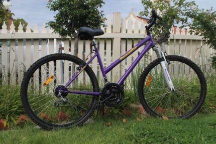 Purple Ladies bike 18 speed brand new saddle