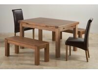 As New - Beautiful Oak Furniture Land Rustic Solid Oak Extending Dining Set