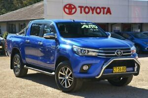 2016 Toyota Hilux GUN126R SR5 (4x4) Blue 6 Speed Automatic Dual Cab Utility Wyong Wyong Area Preview