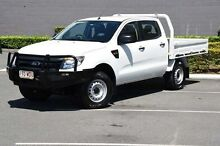 2013 Ford Ranger PX XL Double Cab White 6 Speed Manual Cab Chassis Main Beach Gold Coast City Preview
