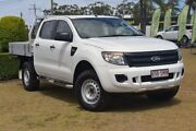 2012 Ford Ranger PX XL Double Cab 4x2 Hi-Rider White 6 Speed Sports Automatic Cab Chassis Southport Gold Coast City Preview