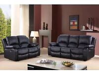 Tiento 3 & 2 Brown Bonded Leather Luxury Recliner Sofa Set With Pull Down Drink Holder. UK Delivery!