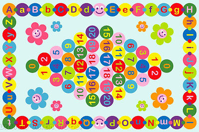 43 X66  Abc Area Rug Kids Educational Happy Alphabet   Numbers Design  New 5X7