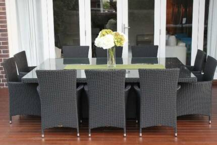 WICKER OUTDOOR DINING SETTING,10 SEATS,EUROPEAN STYLED FURNITURE