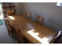 French Oak Extending Table And Six Dining Chairs