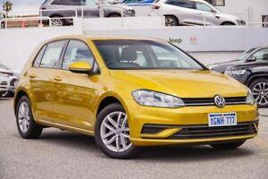 2017 Volkswagen Golf 7.5 MY18 110TSI DSG Yellow 7 Speed Sports Automatic Dual Clutch Hatchback