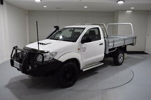 2012 Toyota Hilux KUN26R MY12 Workmate White 5 Speed Manual Cab Chassis South Launceston Launceston Area Preview