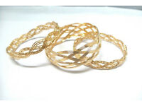 Gold coloured triple bangle set - JTY466