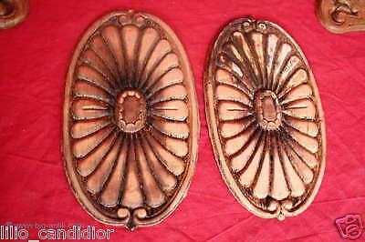 2 Wunderschöne ovale Holzapplikationen / Schrankapplikation / Brandprägung