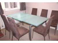 Calligaris Italian glass top dining table plus 6 chairs