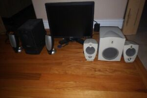 Monitor, speakers and sub woofers