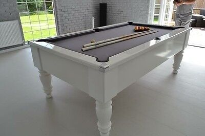 NEW Gloss White Slate Bed Pool Table