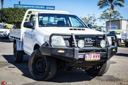 2012 Toyota Hilux KUN26R MY12 Workmate White 5 Speed Manual Cab Chassis Archerfield Brisbane South West Preview