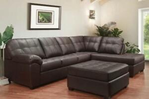 BROWN LEATHER SECTIONAL ON SALE (ND 84)