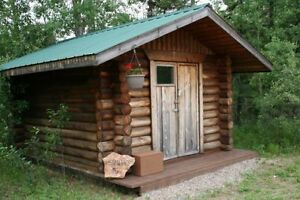 Romantic vacation in a rustic log cabin. Northern Saskatchewan.