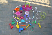 Outdoor Toys: sand, water, gardening, hula hoop + books & purses