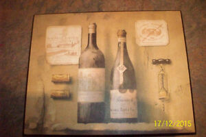 Photo printed on wood, famous wine bottles (Aylmer)